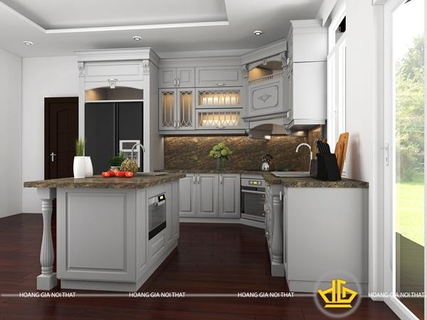 Tủ bếp màu trắng tạo không gian ấm cúng