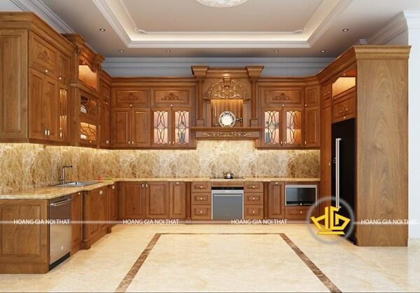 Tủ bếp tân cổ điển màu nâu truyền thống sang trọng, tiện nghi