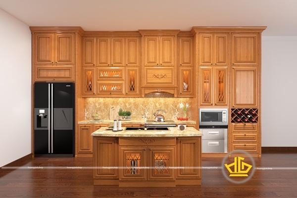 Tủ bếp tân cổ điển chữ I thiết kế độc đáo