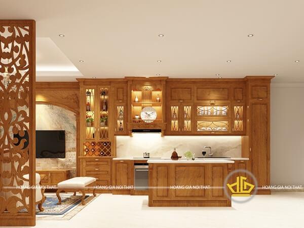 Tủ bếp nhỏ gọn với những họa tiết bắt mắt