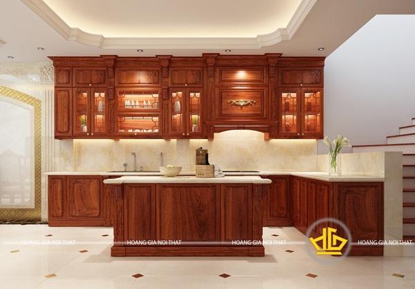 Tủ bếp gỗ hương đơn giản với thiết kế đẹp mắt
