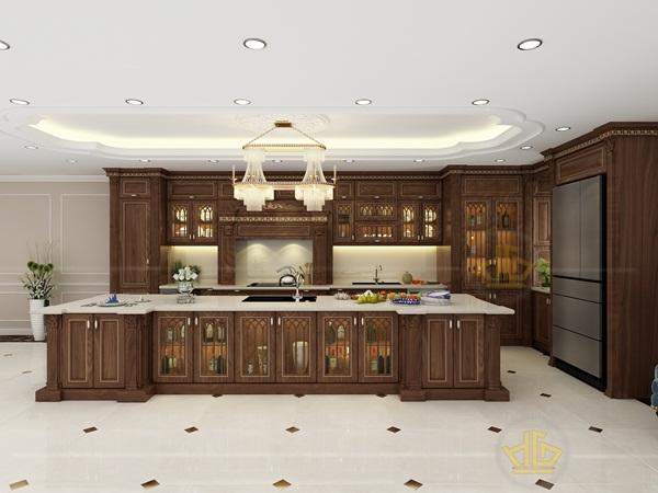 Tủ bếp tân cổ điển được thiết kế đẹp mắt từ những loại gỗ tự nhiên