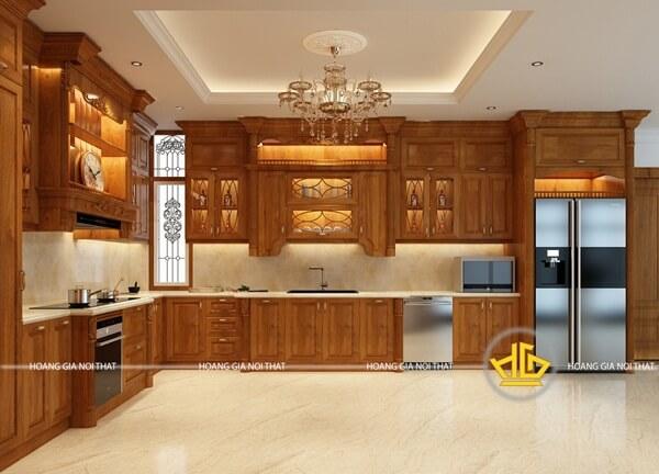 Tủ bếp dáng chữ L nổi bật không gian của căn bếp