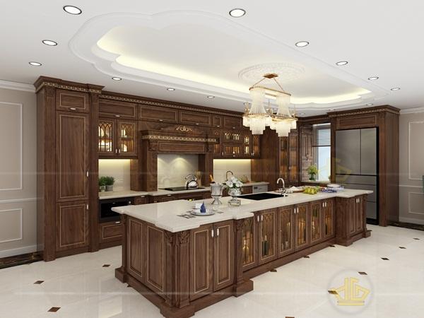 Tủ bếp tân cổ điển từ gỗ óc chó với kiểu dáng rất sang