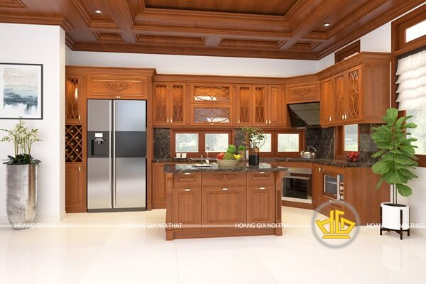 Tủ bếp gỗ lát Châu Phi với màu sắc đơn giản, ấm cúng