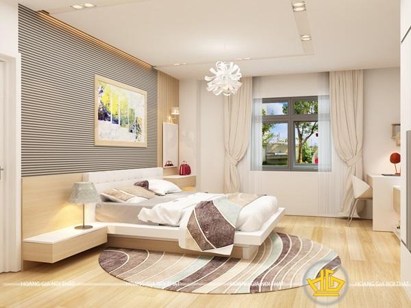 Mẫu thiết kế nội thất phòng ngủ gam màu nhẹ nhàng