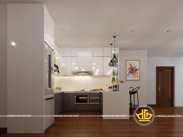 Kiểu tủ bếp với gam màu sáng sẽ giúp mở rộng không gian