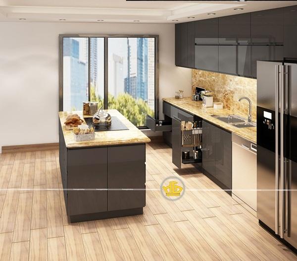 Sự sang trọng, thoải mái được tạo nên bởi tủ bếp biệt thự