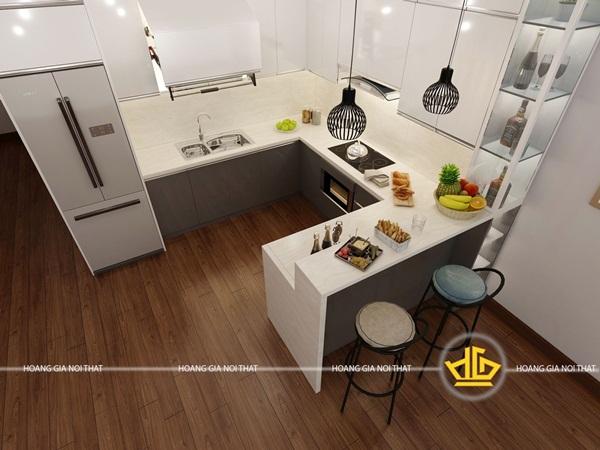 Tủ bếp hình chữ U thích hợp với không gian bếp nhỏ, hẹp