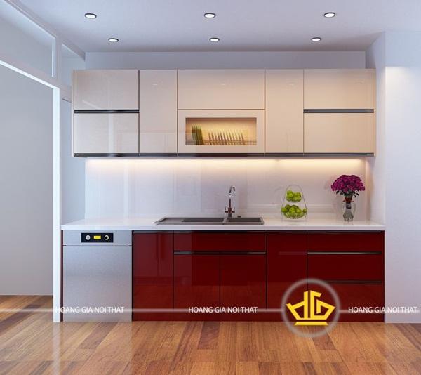Tủ bếp tối giản phù hợp với những gia đình trẻ, yêu thích sự trẻ trung