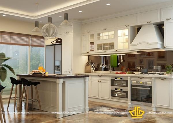 Tủ bếp kết hợp nhiều chất liệu: gỗ, acrylic… mang đến sự mới lạ