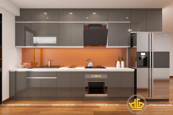 Không gian bếp nổi bật cùng gam màu xám nhẹ nhàng