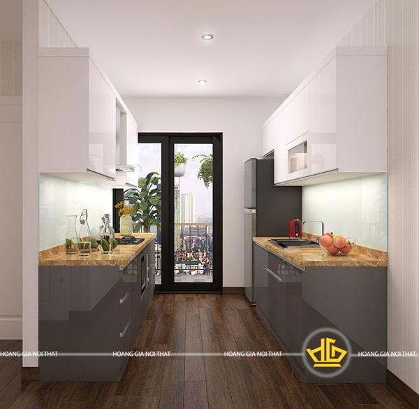 Tủ bếp hiện đại song song tạo không gian rộng rãi, tiện nghi hơn