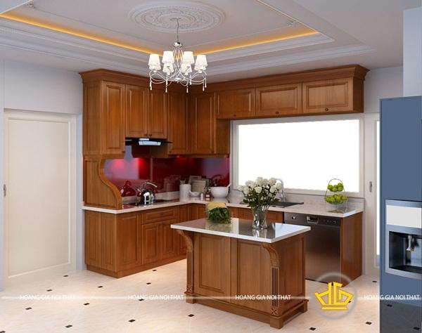 Vẻ đẹp của tủ bếp hiện đại làm từ gỗ gõ