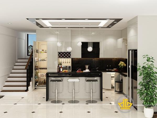 Không gian sang trọng, cá tính của tủ bếp hiện đại có quầy bar